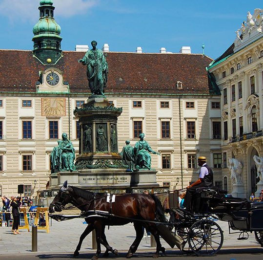 Guided tours - Fiaker at Hofburg in Vienna, Austria