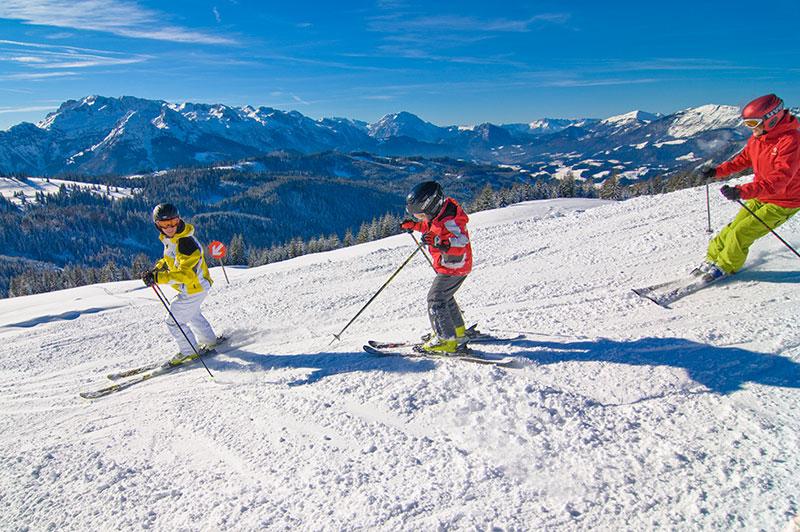 Skiers on the slope in Hinterstoder, Upper Austria