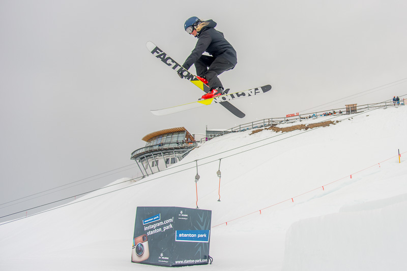 Alpine skiier jumping in the slopes at St. Anton, Tyrol, Austria