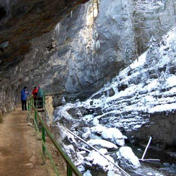 Winter hiking through Breitachklamm Gorge, Kleinwalsertal, Vorarlberg, Austria