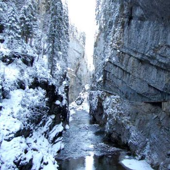 Winter hiking through Breitachklamm Gorge, Kleinwalsertal, Vorarlberg, Austria