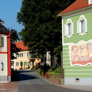 The historic village centre of Bad Waltersdorf, Styria, Austria