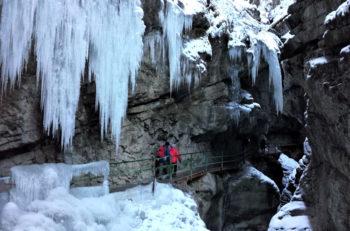 Winter hiking through Breitachklamm Gorge, Vorarlberg, Austria