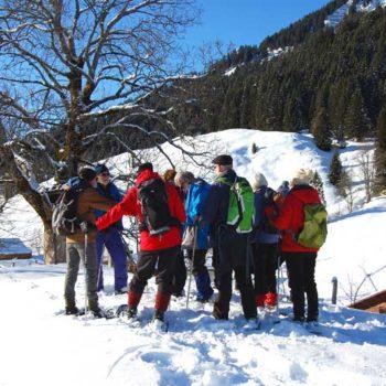 Snowshoeing at Hirschegg, Kleinwalsertal, Vorarlberg, Austria