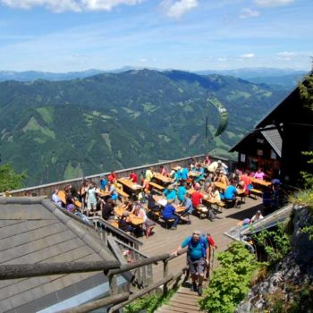 The lovely terrace of the mountain hut Steirischer Jokl at Teichalm, Almenland, Styria, Austria