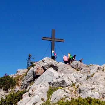 The summit cross at Hochlantsch, Teichalm, Almenland, Styria, Austria