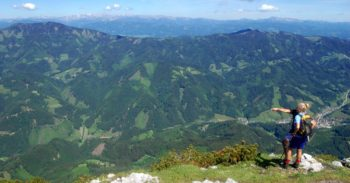 The view from Hochlantsch peak in Styria, Austria