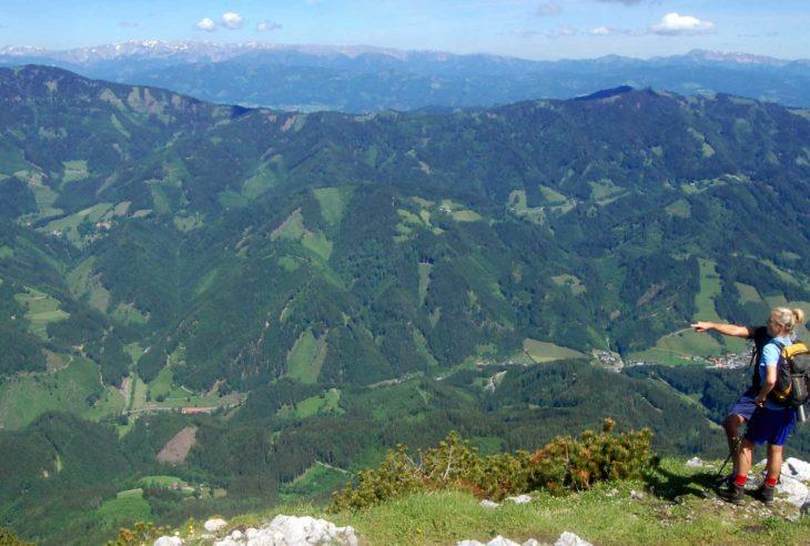 The view from Hochlantsch peak in Styria, Austria