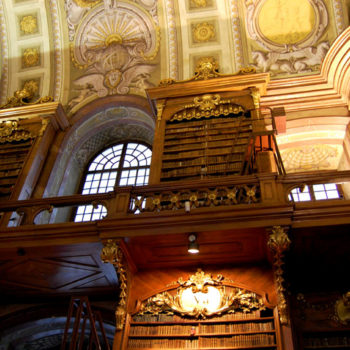 The magnificent shelves and ceiling in the Austrian National Library in Vienna, Austria