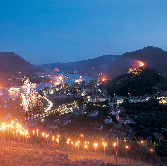 Bondfires at summer solstice at Spitz in the Wachau, Lower Austria