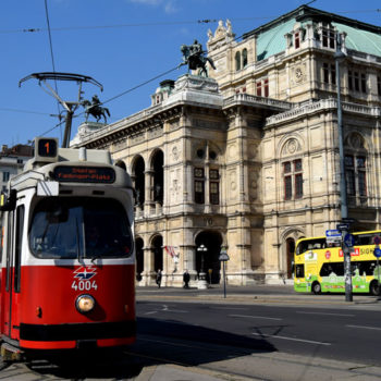 A tram on the Ringstrasse in Vienna, Austria