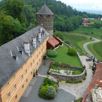 The view from the keep at Deutschlandsberg Castle, Styria, Austria