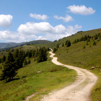 The southbound gravel road at Weinebene - Styria and Carinthia in Austria