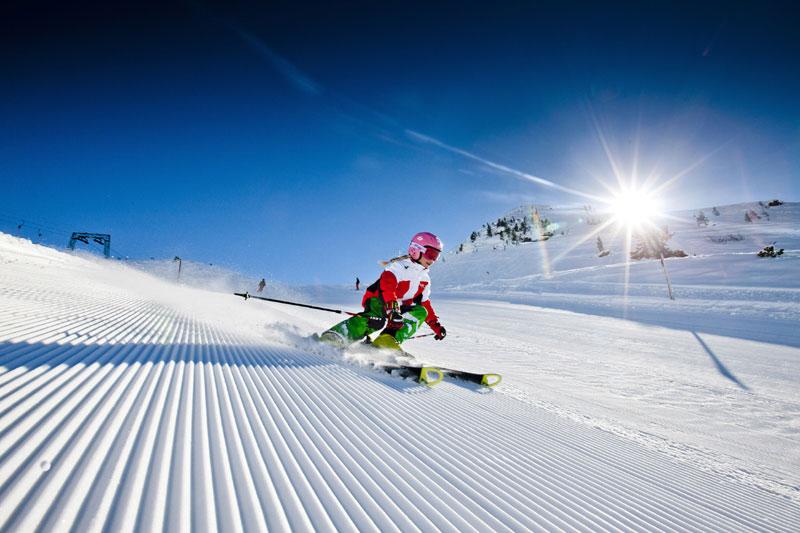 Skier going downhill in Schladming, Styria, Austria