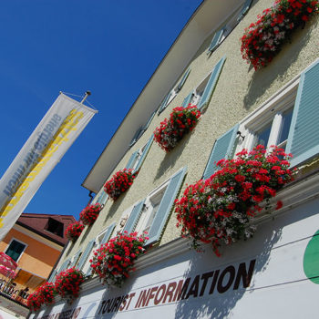 The facade of the tourist office in Mondsee, Austria
