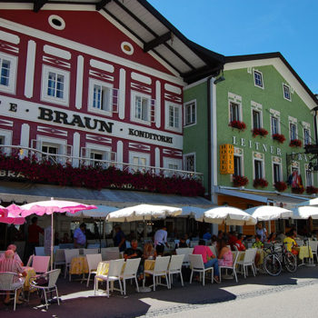 Cafe on the main square in Mondsee, Austria