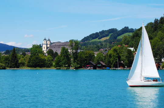 A sailboat on Mondsee, Upper Austria