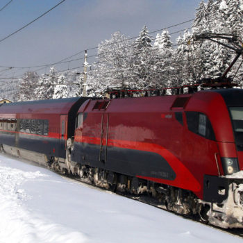 Railjet from the Austrian State Railway in a winterlandscape
