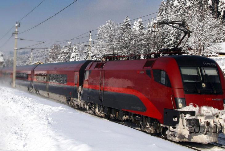 Railjet from the Austrian State Railway in a winterlandscape